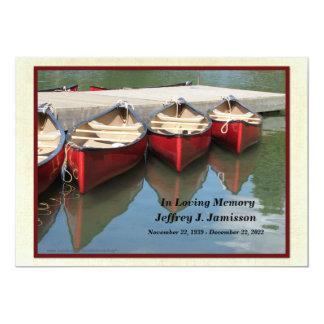 Invitación de la ceremonia conmemorativa, canoas invitación 12,7 x 17,8 cm
