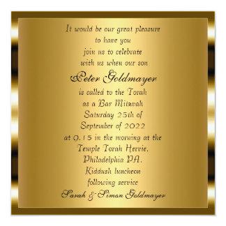 Invitación de la ceremonia del oro de Mitzvah de