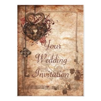 Invitación de la cerradura y del boda de la llave