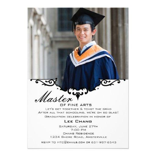 Invitación de la chimenea de la foto de la graduac