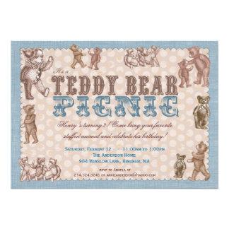 Invitación de la comida campestre del oso de peluc