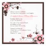 Invitación de la comunión del rosa y de la flor de