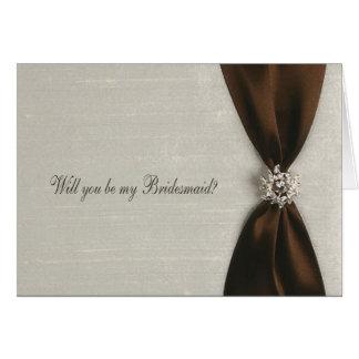 Invitación de la dama de honor, cinta de satén de  tarjeta de felicitación