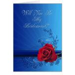 Invitación de la dama de honor con un rosa rojo felicitación