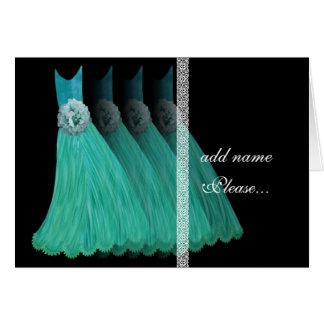 Invitación de la dama de honor - vestidos del azul felicitación