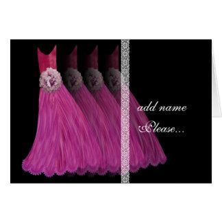 Invitación de la dama de honor - vestidos rosados felicitaciones