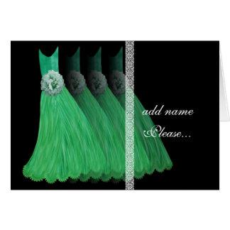 Invitación de la dama de honor - vestidos verdes d felicitación