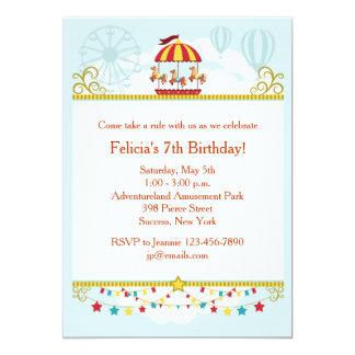 Invitación de la diversión del carrusel invitación 12,7 x 17,8 cm