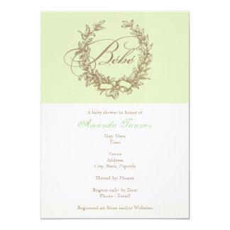 Invitación de la ducha de Bebe del francés - verde