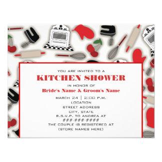 Invitación de la ducha de la cocina - rojo y negro