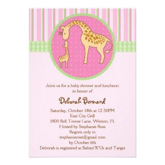 Invitación de la ducha de la niña de la jirafa de
