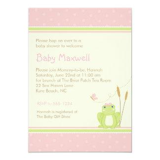 Invitación de la ducha de la niña de la rana -