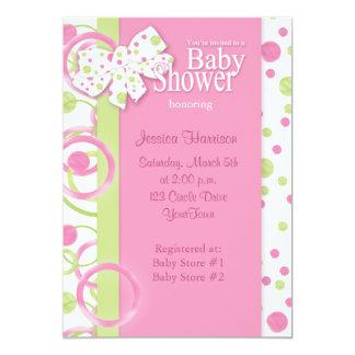 Invitación de la ducha de la niña de los círculos invitación 12,7 x 17,8 cm