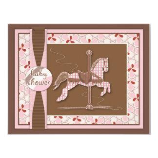 Invitación de la ducha de la niña del caballo del invitación 10,8 x 13,9 cm