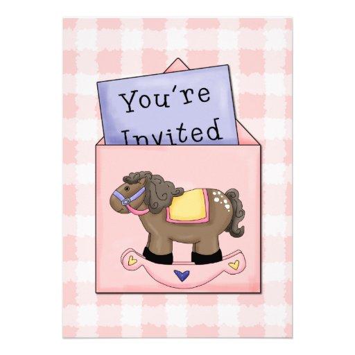 Invitación de la ducha de la niña del caballo mece
