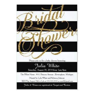 Invitación de la ducha de la raya negra de la invitación 12,7 x 17,8 cm