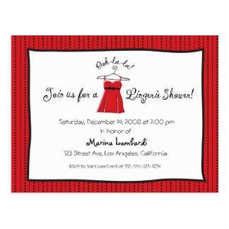 Invitación de la ducha de la ropa interior tarjetas postales