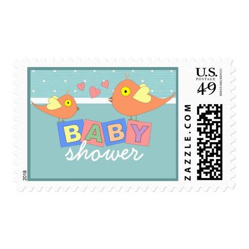 Invitación de la ducha de los bloques del bebé del sellos