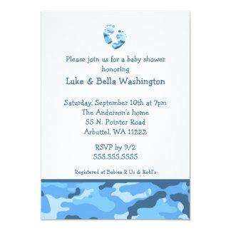 Invitación de la ducha de los pies del bebé azul