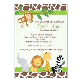 Invitación de la ducha del bebé de la selva del