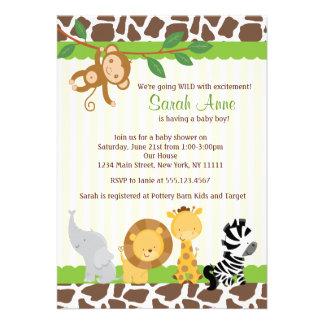 Invitación de la ducha del bebé de la selva del sa