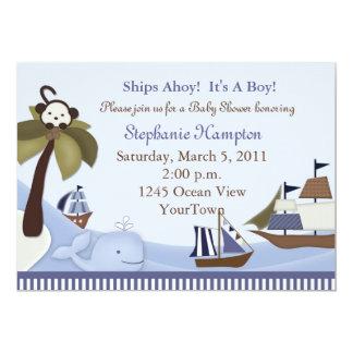 Invitación de la ducha del bebé de las naves Ahoy Invitación 12,7 X 17,8 Cm