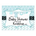 Invitación de la ducha del bebé del damasco del postal