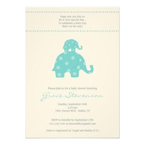 Invitación de la ducha del bebé del elefante de la