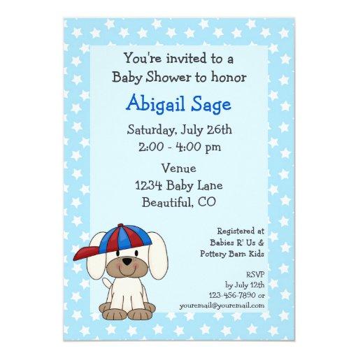 Invitación de la ducha del bebé del perrito del