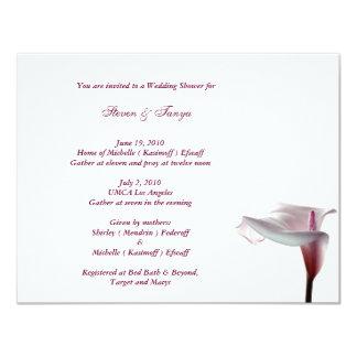 Invitación de la ducha del boda de la cala invitación 10,8 x 13,9 cm