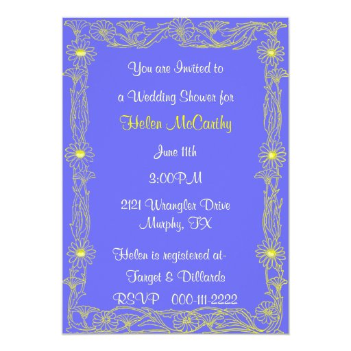Invitación de la ducha del boda de la margarita invitación 12,7 x 17,8 cm