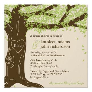 Invitación de la ducha del boda del roble
