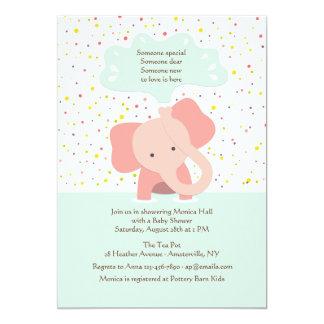 Invitación de la ducha del elefante del bebé