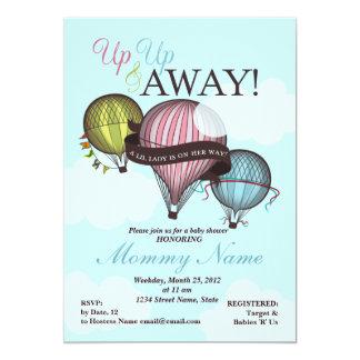 Invitación de la ducha del globo del aire caliente invitación 12,7 x 17,8 cm