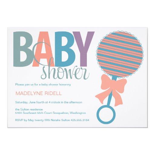 Invitación de la ducha del traqueteo del bebé