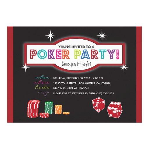 Invitación de la extravagancia del fiesta del póke