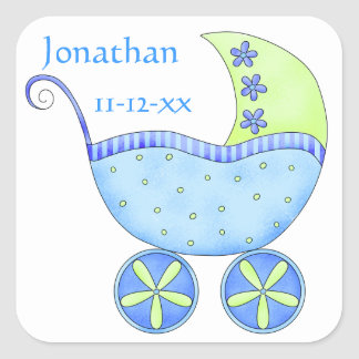 Invitación de la fecha de nacimiento del nombre pegatina cuadrada
