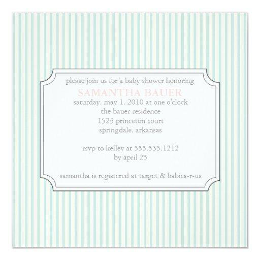 """{invitación de la fiesta de bienvenida al bebé de invitación 5.25"""" x 5.25"""""""