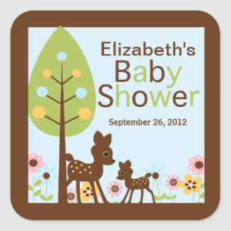Invitación de la fiesta de bienvenida al bebé del calcomanías cuadradass