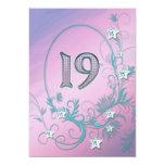 Invitación de la fiesta de cumpleaños 19 años invitación 12,7 x 17,8 cm