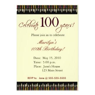 Invitación de la fiesta de cumpleaños de 100 años