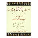 Invitación de la fiesta de cumpleaños de 100 años invitación 12,7 x 17,8 cm