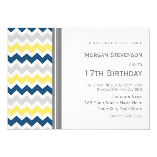 Invitación de la fiesta de cumpleaños de Chevron d