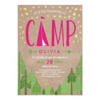 Invitación de la fiesta de cumpleaños de Glamping Invitación 12,7 X 17,8 Cm