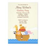 Invitación de la fiesta de cumpleaños de la arca invitación 12,7 x 17,8 cm