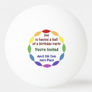 Invitación de la fiesta de cumpleaños de la bola pelota de ping pong