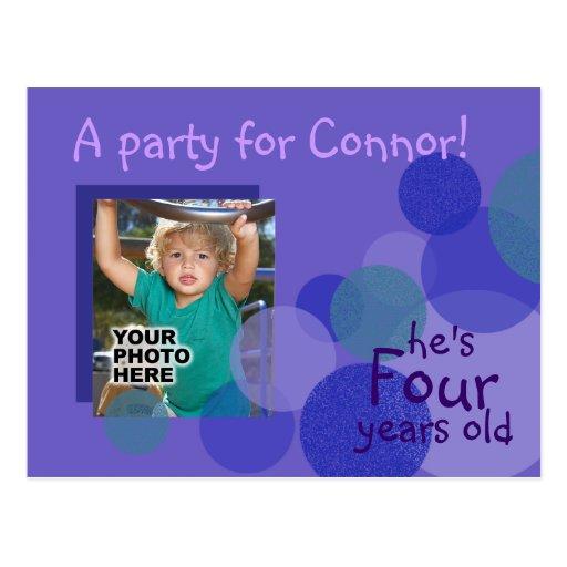 Invitación de la fiesta de cumpleaños de la felici tarjetas postales
