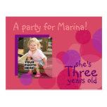 Invitación de la fiesta de cumpleaños de la felici postal