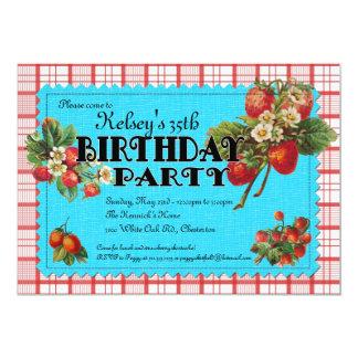 Invitación de la fiesta de cumpleaños de la fresa invitación 12,7 x 17,8 cm