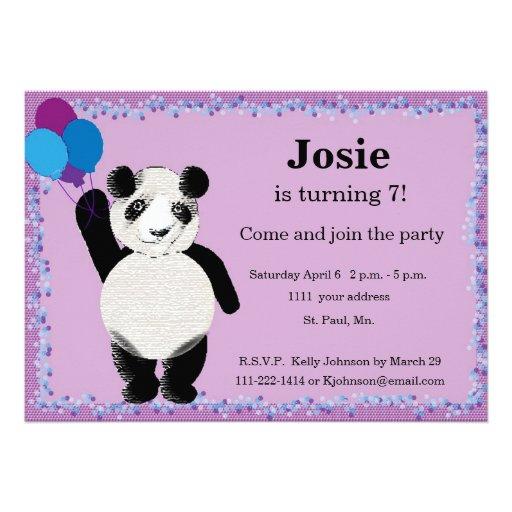 Invitación de la fiesta de cumpleaños de la panda